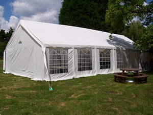 The Marquee in the large, child friendly beer garden at the Hurdlmakers Arms, Woodham Mortimer, Essex